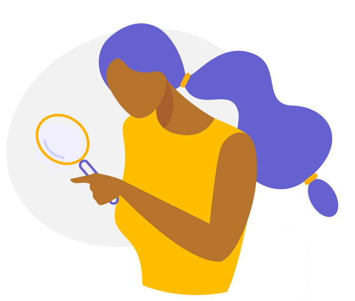 illustration of person searching with magnifying glass